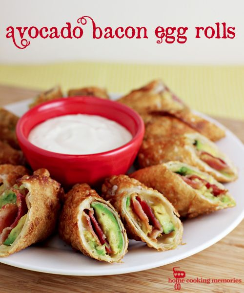 Avocado Bacon Egg Rolls...would be so delicious with veggie bacon! - For an alternate cheaper version use hard salami instead of bacon, any cheese and try wrapping and frying it in a tortilla instead of the egg roll wrappers.