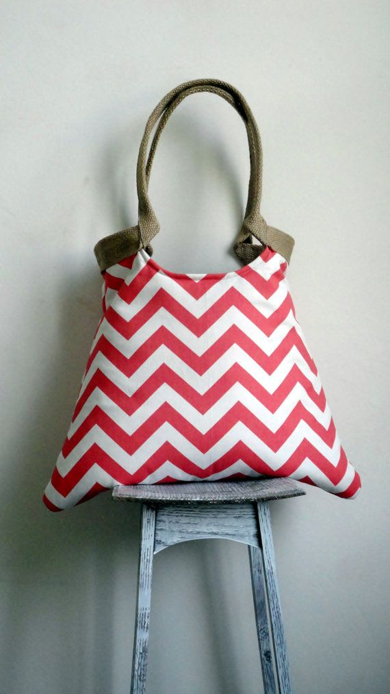 Coral chevron tote bag with jute
