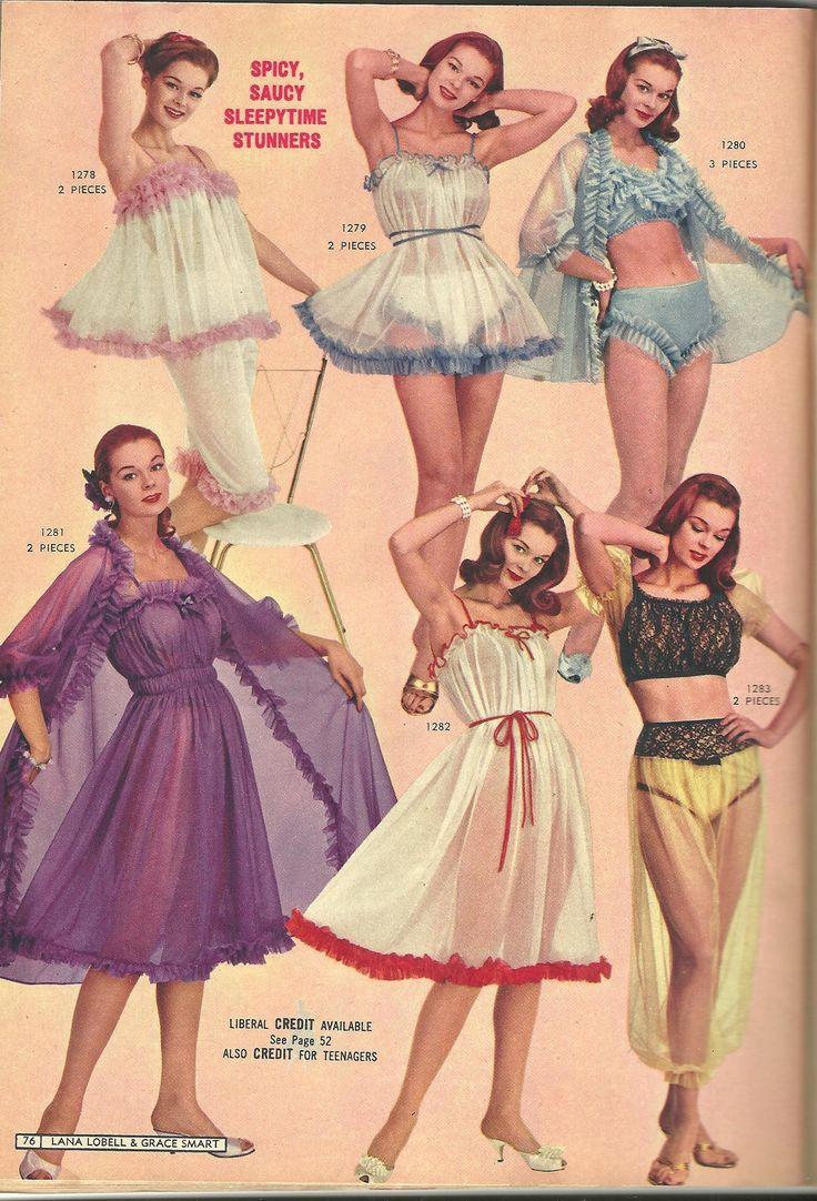 60s lingerie photo print ad color purple white blue baby doll night gown robe sheer white teddy Lana Lobel Summer 1961