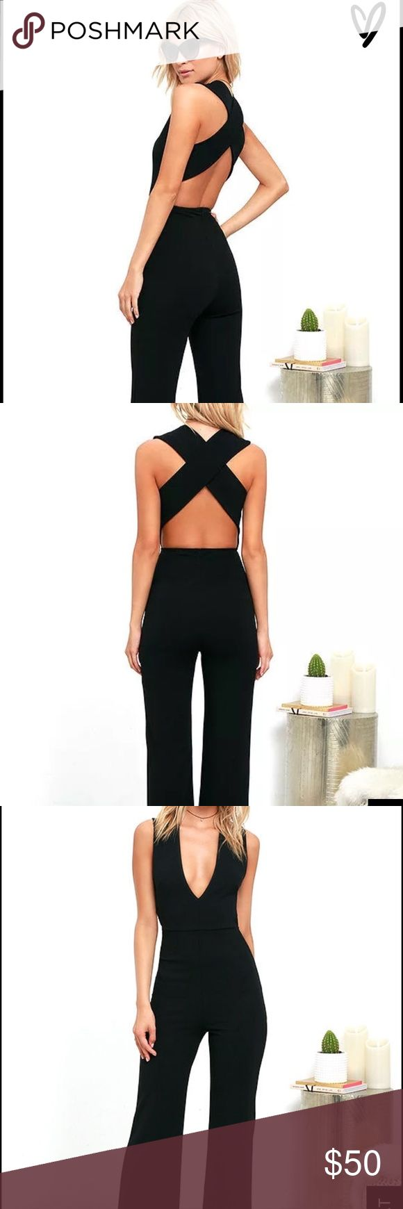 NEW Backless Black Jumpsuit. Never worn NEW Backless Black Jumpsuit. Size Medium. Medium-weight knit is formed to a sleeveless bodice, with V-neck, darting, and wide straps that cross over the open back. Bit of elastic at the waist tops the wide-leg pants. 94% Polyester, 6% Spandex. Pants Jumpsuits & Rompers