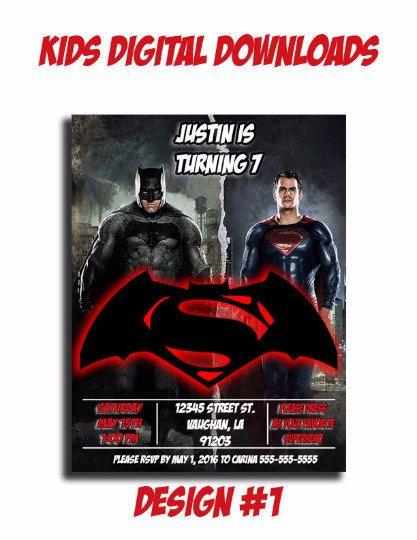 Batman vs Superman Invitation / Batman vs by KidsDigitalDownloads
