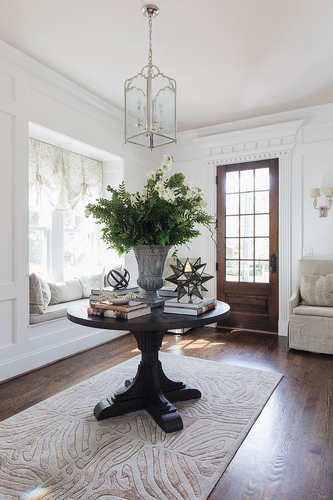 Design Ideas Round Foyer Table With Floral Arrangements White Modern Foyer Shiny White Round Table Decor Entry Table Decor Round Foyer Table Entrance Table