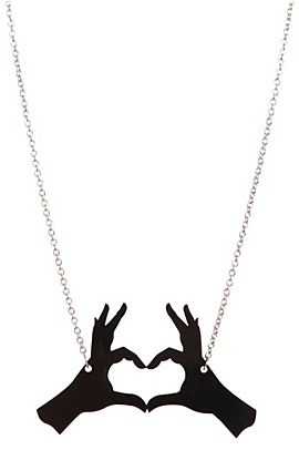Hot Topic black heart hands necklace - $10.50