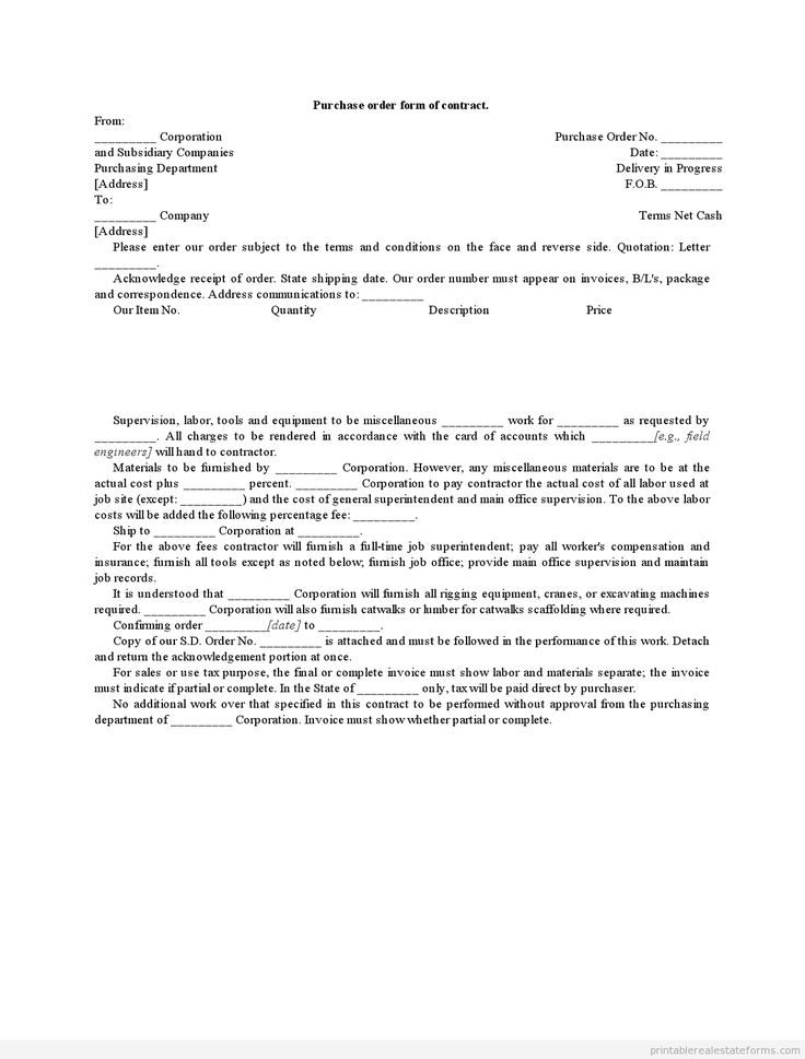 Doc404522 Purchase Order Contract Template Vehicle Purchase – Best Purchase Order Format