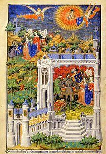 Clovis recevant la fleur de lys. Bedford Book of Hours 15°s - CLOVIS 1°. 5) LEGENDES AUTOUR DE CLOVIS, 7: L'ermite l'aurait donné à Clotilde pour qu'elle le donne au roi et qu'il s'en serve durant la bataille à la place de ses armes ornées de 3 croissants ou 3 crapauds, l'ange ayant assuré à l'ermite que le bouclier assure la victoire. Lorsque Clovis tue son ennemi près de la tour Montjoie, celui-ci confesse la Trinité et fonde l'abbaye de Joyenval qui accueille alors le bouclier comme…