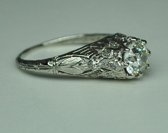 1.02 carat Art Nouveau Engagement Ring by greenhilljewelers I love this. Its so pretty and antique.