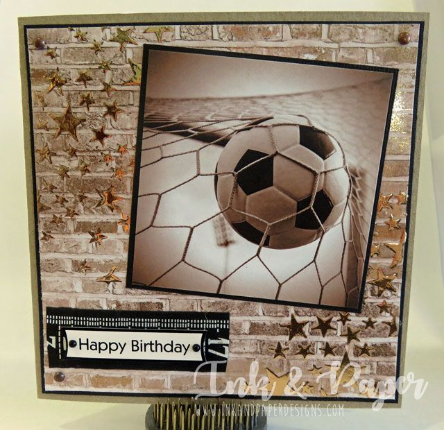 Soccer ball card. Deco art transfer gel and deco art foil with a starry stencil