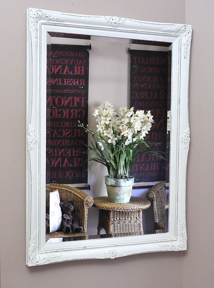 JULIANNE  MIRROR-SHABBY WHITE-WALL-French provincial-antique-salon style-NEW Stellshouse $249