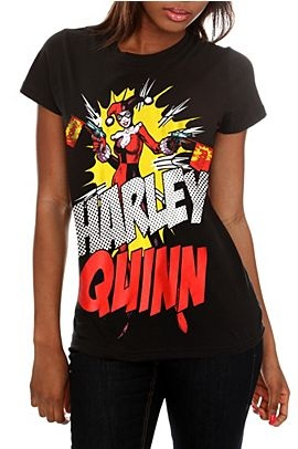 Just got this shirt, it goes perfectly with my Batman/Joker high tops :) Harley Quinn tee. http://www.hottopic.com/hottopic/PopCulture/EverythingElse/ComicsAnimeCartoons//DC+Comics+Harley+Quinn+Pow+Girls+T-Shirt-161065.jsp