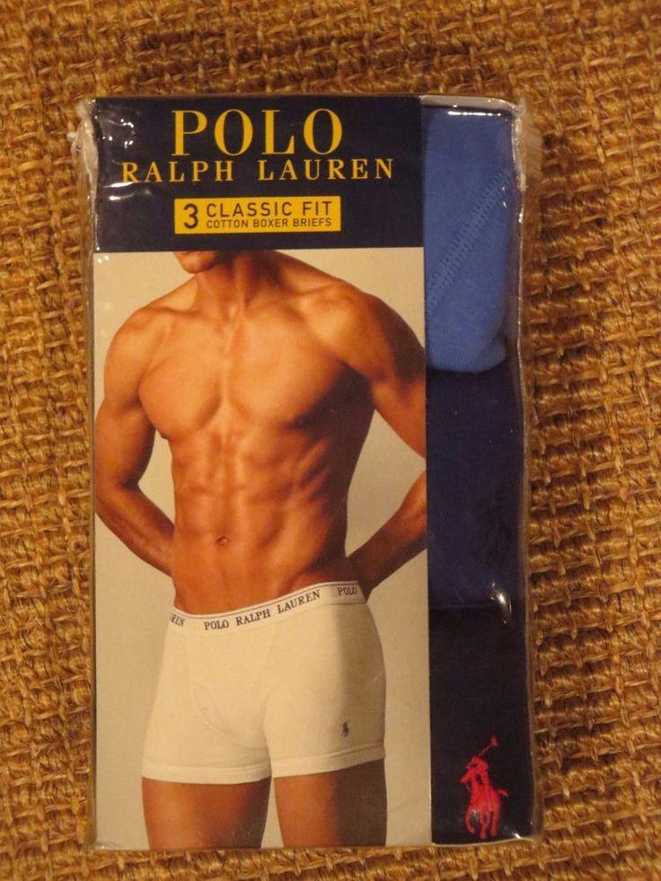POLO RALPH LAUREN MEN'S  BOXER  BRIEFS LARGE  36 / 38  3  PAIRS  COTTON  NEW #PoloRalphLauren #BoxerBrief