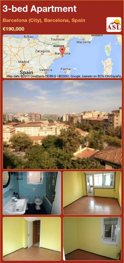 3-bed Apartment in Barcelona (City), Barcelona, Spain ►€190,000 #PropertyForSaleInSpain