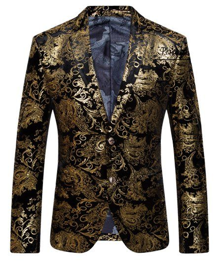 The ideal choice if you're looking to being the best at that event. Golden floral velvet menswear blazer at perfectmensblazers.com