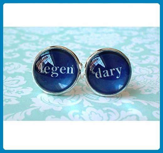 16 mm Navy Blue and white Legendary wedding Cuff Links ,Barney Stinson quote(Blue) - Navy and coral weddings (*Amazon Partner-Link)