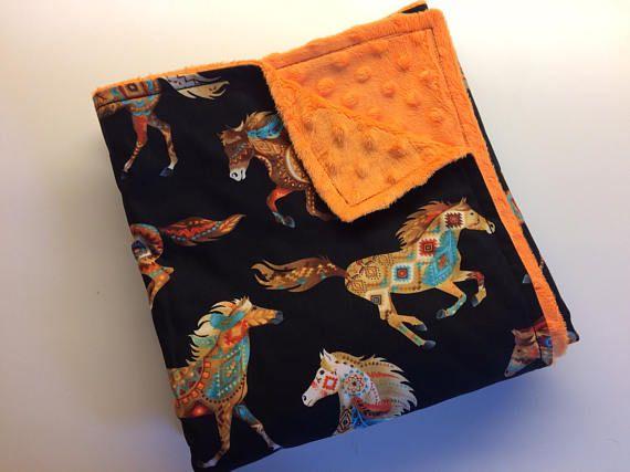 Manta del bebé occidental caballo manta Minky manta lecho