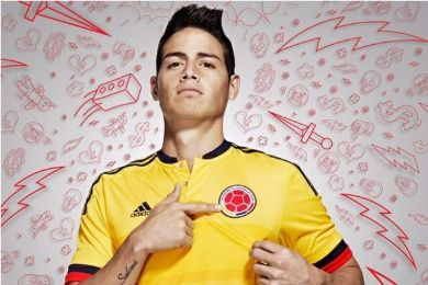 Colombia 2015 Copa America adidas Home Kit