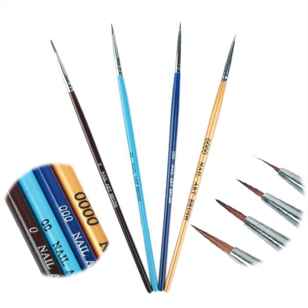 4 pz/set di Colore Acrilico Uv del Gel Della Penna Professionale Nail Art Vernice Disegno Corredo della Spazzola di Arte Del Chiodo Del Manicure Strumento