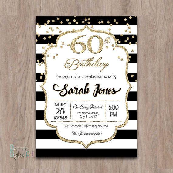 60th birthday invitations 60th birthday by DamabDigital on Etsy