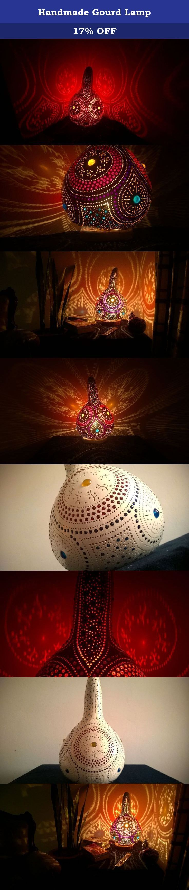 Handmade Gourd Lamp. Welcome. My objective is to send you a unique, truely handmade, authentic product from the Mediterranean with a reasonable cost. So please read the next three pharagraphs carefully before making a decision. I work with selected farmers who water calabash excessively (the main material) and feed them with goat based fertilisers so that they grow up strong and thick. But when it comes to shipping, they are delicate, fragile and sensitive. I warranty a free replacement…