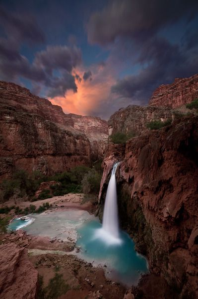 The colorful rock of Grand Canyon, Arizona, and the turquoise water that runs through Supai, homeland of the Havasupai tribe.