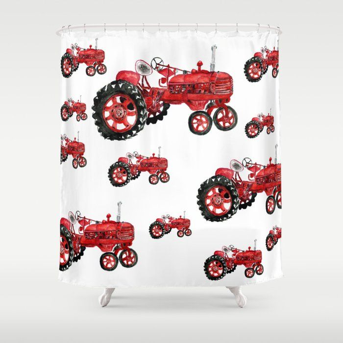 red tractor curtains shower curtain