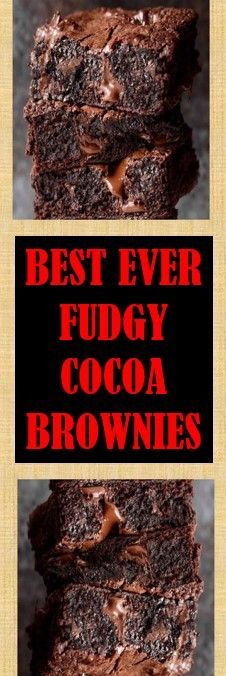 ✔ BEST EVER FUDGY COCOA BROWNIES