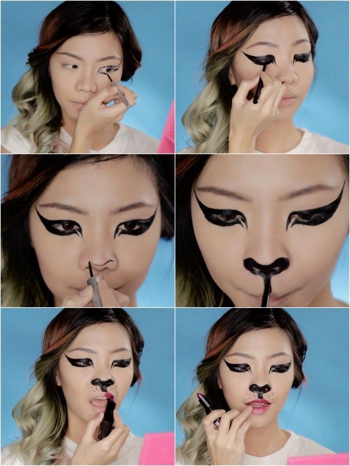 Deguisement Halloween Filtre Snapchat Tuto Maquillage Halloween Chat Realise Halloween Makeup Halloween Face Makeup Makeup