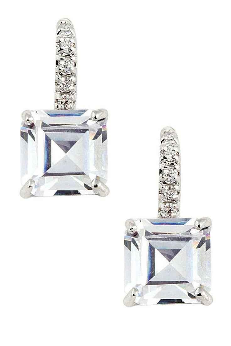 Bridal classics necklace sets mj 259 - Asscher Cut Pave Cz Drop Earrings