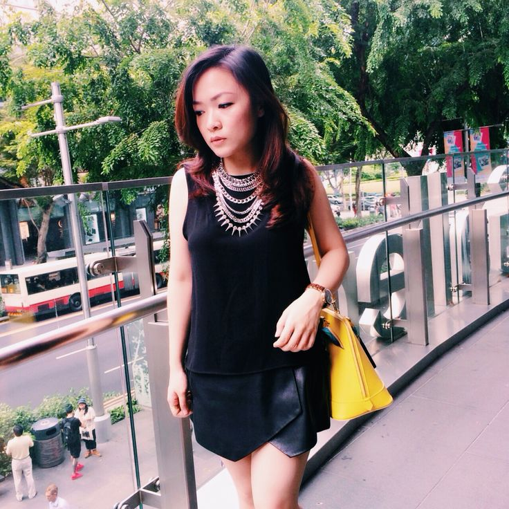 Top n leather skort by zara and chain studed necklace by @chromatiq.indonesia Follow my instagram account @agnes_siauw