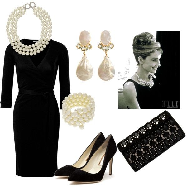 Classic little black dress and pearl jewelry.
