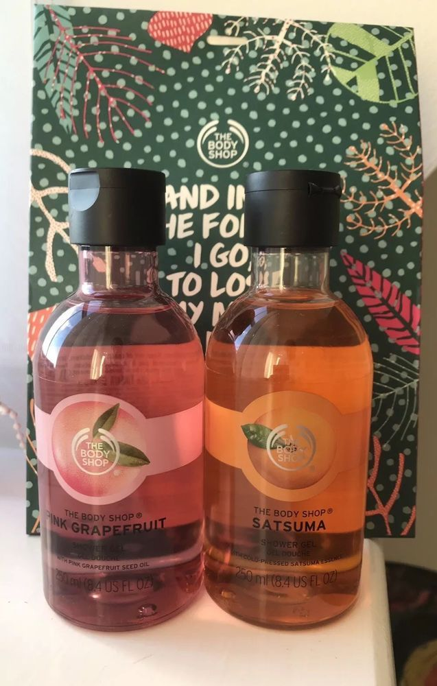 2 X The Body Shop Shower Gels Pink Grapefruit And Satsuma 250ml
