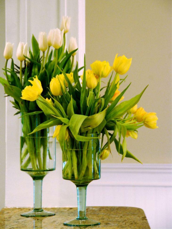 copas altas flores amarillas