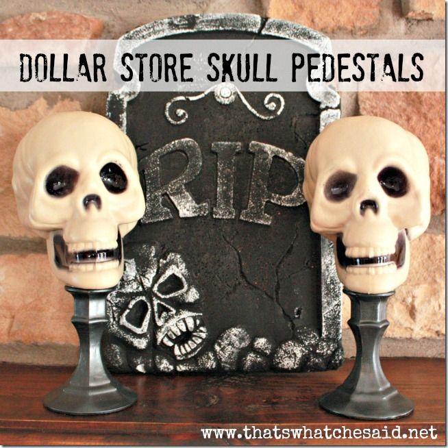 dollar store skull pedestals halloween home decor tip junkie