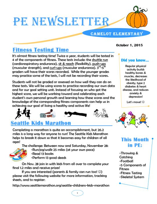 Classroom Newsletter Ideas ~ October pe newsletter bulletin boards pinterest