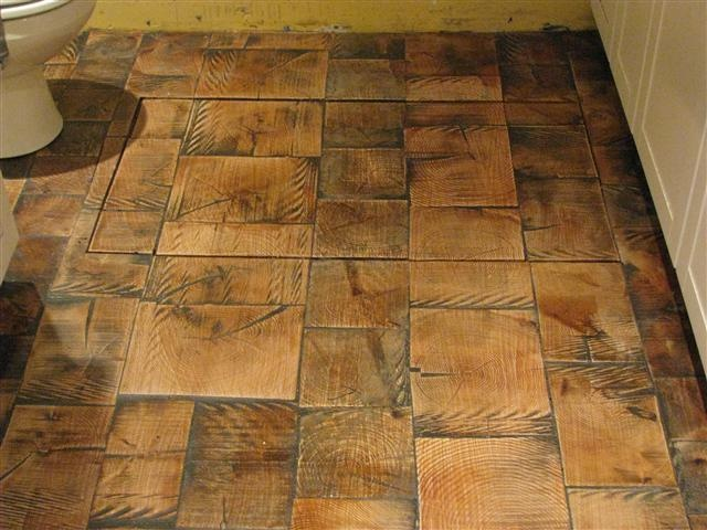 Reclaimed Log End Wood Tile Flooring Diy Pinterest
