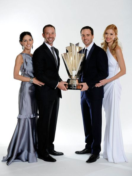 Four time NASCAR Sprint Cup Series Champion Jimmie Johnson (2R), his wife Chandra (R), crew chief Chad Knaus (2L) and Lisa Rockelmann (L) pose before the NASCAR Sprint Cup Series awards banquet during the final day of the NASCAR Sprint Cup Series Champions Week on December 4, 2009 in Las Vegas, Nevada.