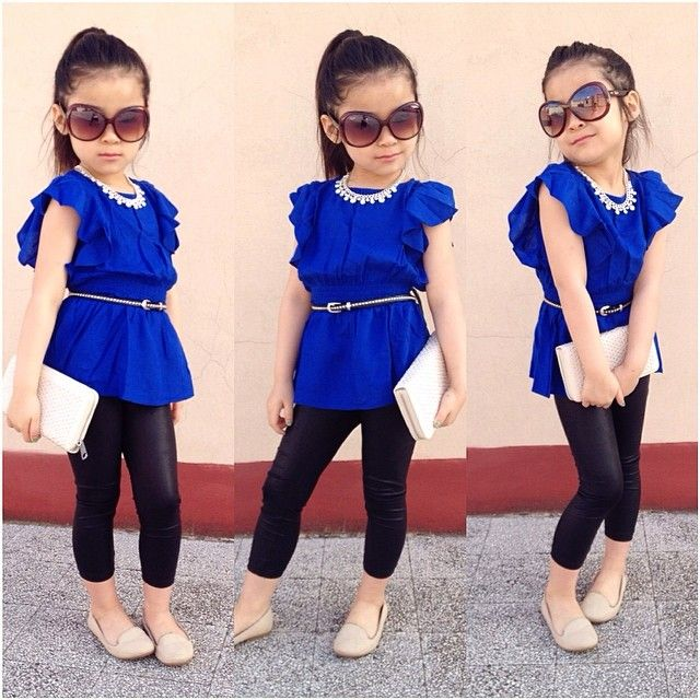 2PCS Baby Girl Short Sleeve T-shirt +Pants Set Clothes 2-6T