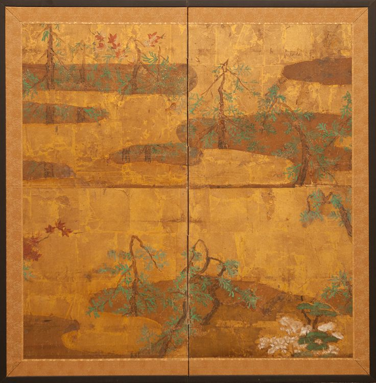 japanese screen forest in a mist on gold leaf mineral pigments on gold leaf japanese screens wall decorations pinterest japanese and japan art