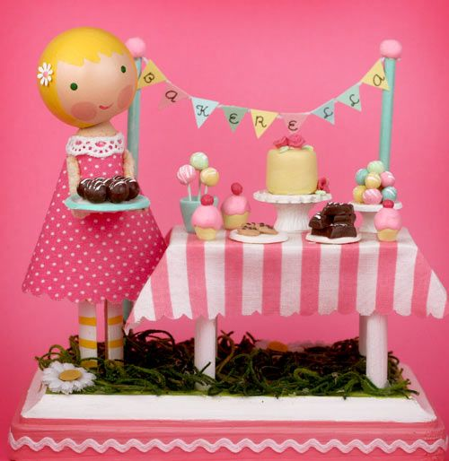 Bakerella and the lollipop workshop with these adorable little dolls.  Takes me back to being 6.