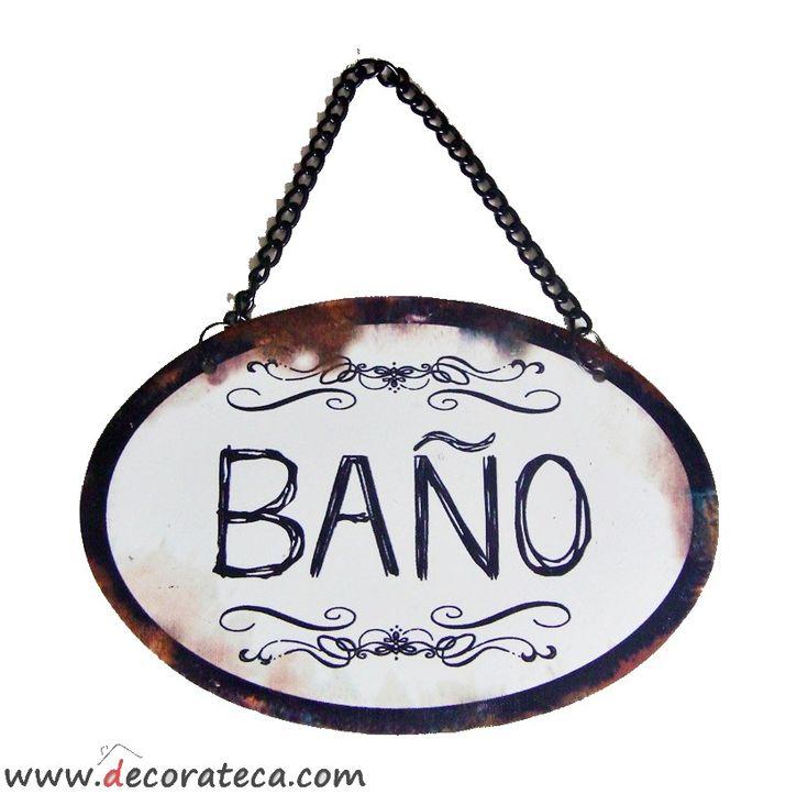 """Cartel de metal retro vintage con cadena """"Baño"""" -- 1.99€ -- WWW.DECORATECA.COM                                                                                                                                                      Más"""