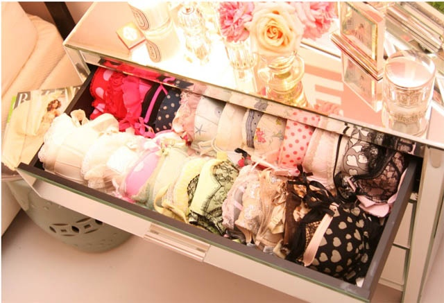 this is exactly what my bra drawer looks like - colorful & lined up neatly. i love this mirrored dresser...i need a lingerie chest like this!