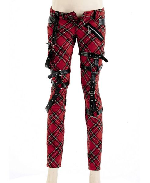 Skinny Red Check Print Pants with Pin Buckle Belt Detail