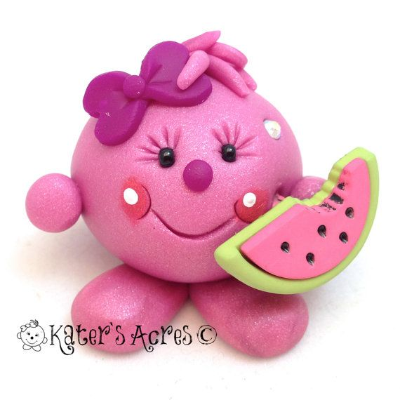 LOLLY with Watermelon Slice - Polymer Clay Figurine  by KatersAcres, $17.50