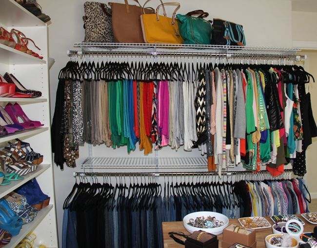 Organize all closets with velvet hangers & color code clothes
