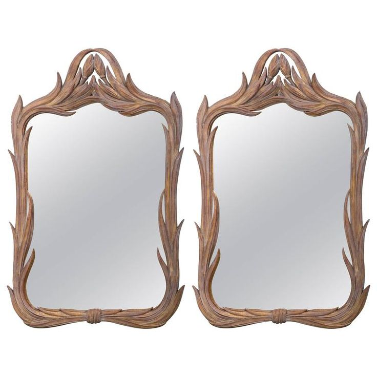 Pair of Italian Gilt Mirrors in the Style of Hollywood Regency | From a unique collection of antique and modern wall mirrors at https://www.1stdibs.com/furniture/mirrors/wall-mirrors/
