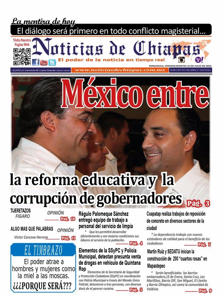 #HoyEnPortada México entre la reforma educativa y la corrupción de gobernadores. La información es poder. Mantente informado con nosotros.