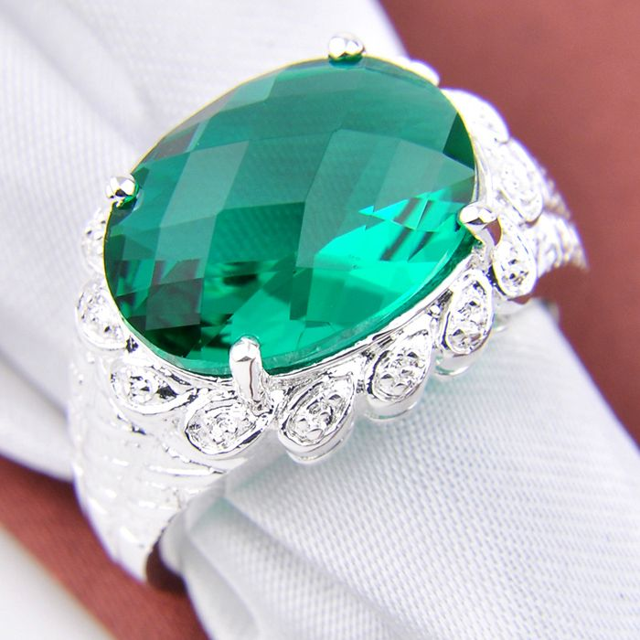Free Shipping New Fashion Jewelry Charm Green Quartz  Rings For Women Best Holiday Gift  R0511