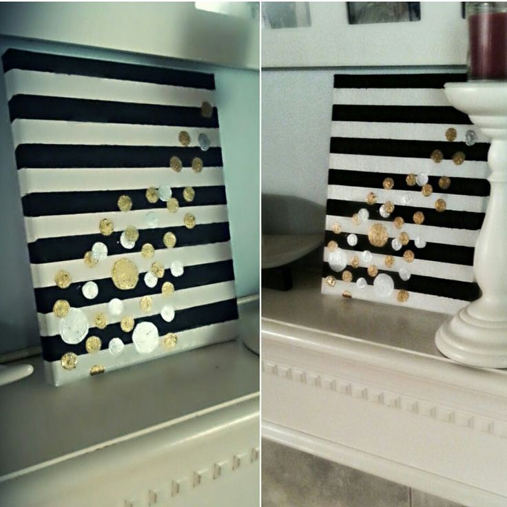 diy canvas art black white silver gold paint diy