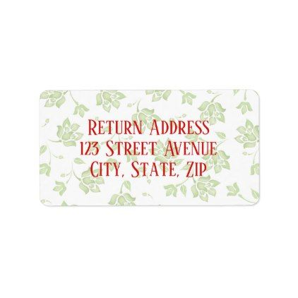 Green floral Holiday Mailing Label - patterns pattern special unique design gift idea diy