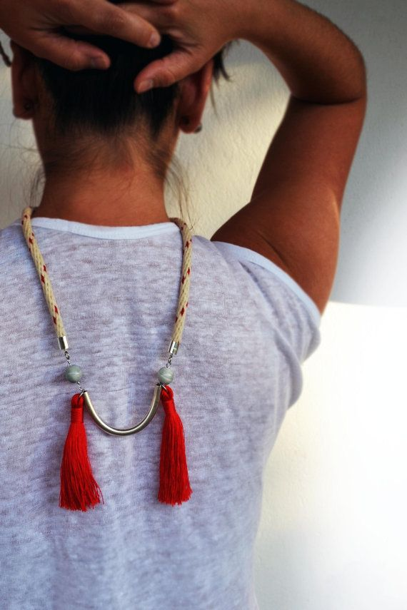 Boho necklace with tube beads and tassels by Beh1ndByMK on Etsy