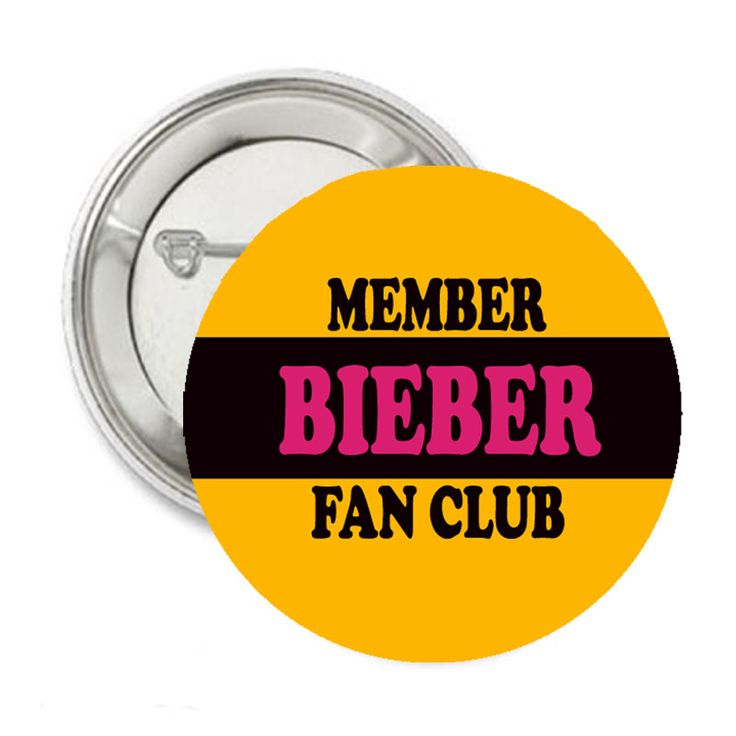 Justin Bieber Fan Club Member Pinback Button 1.25 | Balli Gifts